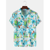 Mens Holiday Tropical Plant Printed Light Casual Short Sleeve Shirts With Pocket