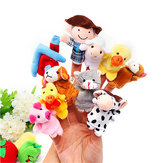 10 PC's Family Finger Puppets Cloth Doll Baby Educational Hand Toy