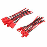 Excellway® 10 Pairs 2 Pins JST Male & Female Connectors Plug Cable Wire Line 110mm Red