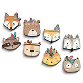 Cartoon Animal Wood Wall Stickers Baby Boy Girl 3D Wall Sticker Children Room Decorations Favors Home Wall