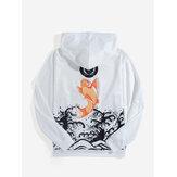 メンズカープバックプリント浮世絵風長袖巾着パーカー