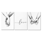 3pcs Hand in Hand Love Canvas Painting Abstract Sketch Art Hanging Painting Living Room Studio Decoration Painting