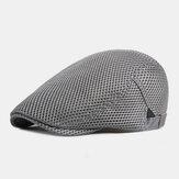 Unisex Full Mesh Hollow Breathable Outdoor Casual Thin Sunshade Forward Cap Beret Cap Flat Hat