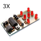 3Pcs Electronic Dice DIY Kit 5mm Red LED Peças interessantes NE555 CD4017 Electronic Production Suite