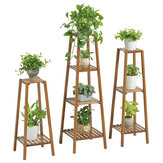 2/3/4 Tiers Ladder Plant Stand Flower Pot Wooden Storage Rack Shelf Holder Home Office Garden Decor