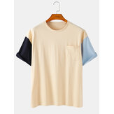 Solid Color Patchwork Cotton Round Neck Short Sleeve Breathable T-Shirts