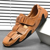 Menico Men Woven Style Hook Loop Hand Stitching Leather Sandals
