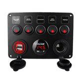 Autóhajó kapcsoló panel vízálló digitális feszültségmérő kettős USB port 12V kimeneti kombinációval Marine LED Rocker 5 banda