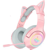 ONIKUMA Pink Cat Ear Headset  Virtual 7.1 Stereo Game Sound  Noise Reduction Headphone RGB Luminous Adjustable Gaming Headset with Mic