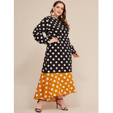 Plus Size Women Polka Dot Print Patchwork Casual Maxi Dress