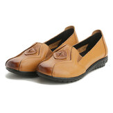 Respirável Casual Women Shoes Slip On Leather Loafers