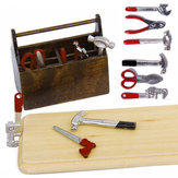 1/12 Dollhouse Miniature Wooden Box With Metal DIY Tool Set Kit Toy
