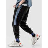 Mens Corduroy Side Stripe Drawstring Black Jog Casual Pants