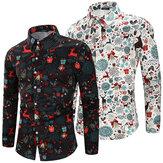 Erkek Noel Gömlek Günlük Parti Uzun Kollu Gömlek Nefes Alabilir Soft Bluz Kampçılık Yürüyüş Süslü Üst