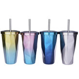 473L Stainless Steel Cups Gradient Color Diamond Double Wall Travel Water Bottles with Straw