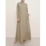 Women Solid Color Side Pockets Button Cuffs Kaftan Tunic Long Sleeve Maxi Dress
