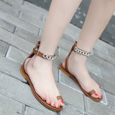 Roman Metal Chain Mujer Shoes Clip Toe Sandalias
