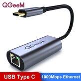 QGeeM USB Type-C إلى 1000Mbps RJ45 إيثرنت شبكة مدخل محول محول للهواتف ذكي أجهزة لوحية أجهزة كمبيوتر محمولة MacBook Air 2020 لـ iPad Pro 2020 لـ Samsung Galaxy ملحوظة 20
