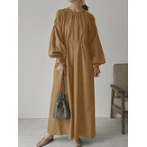 Женщины сплошной цвет с круглым вырезом и пуговицами на спине Plus Размер Повседневная Платье