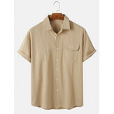 Cotton Mens Solid Color Button Up Short Sleeve Casual Shirts With Pocket