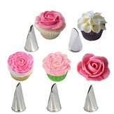 5 stuks set Rose Petal Icing Piping Spuitjes Metalen Room Tips Cake Decorating Tools Cup Cake Pastry Tool