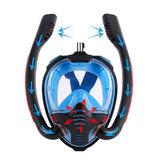 Snorkelmasker met dubbele buis Siliconen volledig droog duikmasker Zwemmasker Bril Zelfstandig onderwaterademhalingsapparaat