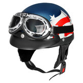 Retro USA Flag Motorcycle Half Face Helmet Biker Scooter With Sun Visor UV Goggles Cafe Racer