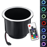 RGB LED Light Drink Cup Holder For Marine Boat RV Car Yacht Remote Control Plastic