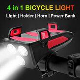 2000 мАч USB перезаряжаемый многофункциональный велосипедный фонарь 4 в 1 LED Велосипедная фара Велосипедный рог Держатель для телефона Powerbank В