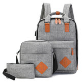 3PCS Men Women School Backpack Shoulder Bag Student Laptop Handbag Travel Tote