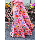 Colorful Floral Print Big Swing Elastic Waist Holiday Casual Long Skirt For Women