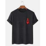 T-shirts à manches courtes 100% coton à imprimé poker Ace Of Hearts pour homme