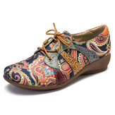 SOCOFY Paisley Retor Floral Splicing Folkways Style Round Toe Lace Up Flat Shoes