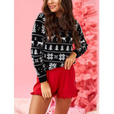 Women Christmas Theme Pattern Print O-Neck Regular Fit Long Sleeve Blouse