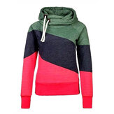 Long Sleeve Pullover Color Stitching Hoodies Sweatshirt for Women