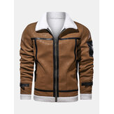 Mens Zipper Fur Leathers Thicken Multi Pocket Long Sleeve Vintage Jakctet