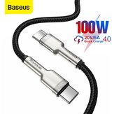 Baseus Cafule All-metal 100W USB-C to USB-C PD Cable Power Delivery Fast Charging Data Transfer Cord 1m Long for Samsung Galaxy Note S20 ultra Huawei Mate40 OnePlus 8 Pro for MacBook Air 2020 for Dell XPS13