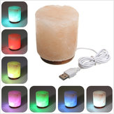 USB Cylindrical Natural Electrical Salt Lamp Crystal Rock Air Purifier Table Light
