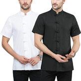 Manteau de chef pour hommes Chef traditionnel travaille uniforme à manches courtes Fitness Sport Restaurant vêtements de travail
