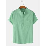 Camisas henley de manga corta de lino de algodón de color sólido para hombre con bolsillo