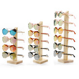 Cremalheira de exposição de madeira natural dos monóculos dos óculos de sol de madeira