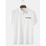 Mens Solid Color Stand Collar Casual Short Sleeve Shirts