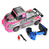 RBR/C J801 1/10 RC Truck Car 2.4G 2CH 45CM Trailer RC Vehicle Model Indoor Toys Blue Car Can Glow