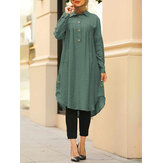 Women Kaftan Style Drop Shoulder Mid-Calf Length Curved Hem Shirts