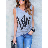 Grey Letter Pattern Round Neck Sleeveless Basic Casual Tank Top