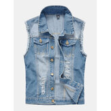 Mens Fashion Denim Double Poches Turn Down Collar Casual Vest