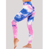 Tie-dye Random Print High Waist Slim Sport Yoga Casual Leggings For Women