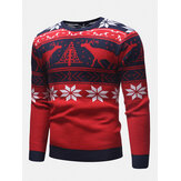 Mens Christmas Pattern Crew Neck Regular Fit Casual Knitted Sweater