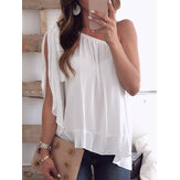 Women Solid Color Off Shoulder  Sleeveless Chiffon Blouse
