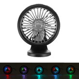 3 Speed Mini Car Fan Air Vent Dashboard Cooling Cooler USB With Colorful LED Light